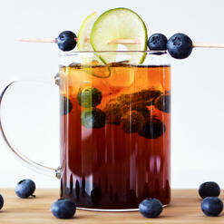 Cold brew with blueberries and lime