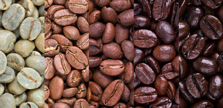 Coffee beans with different roasting level