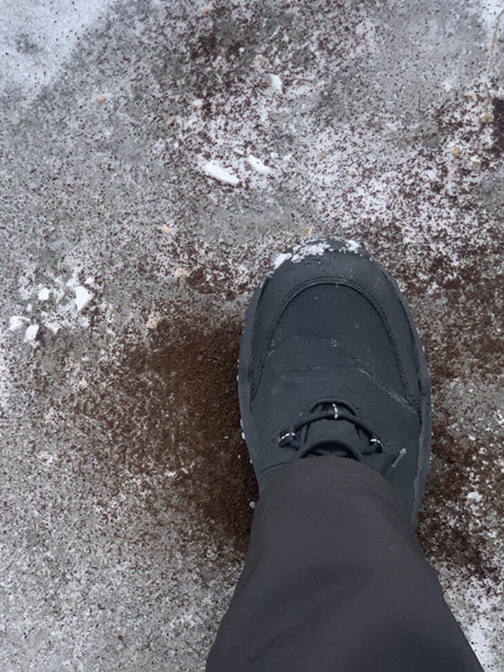sanding icy walkway with used coffee