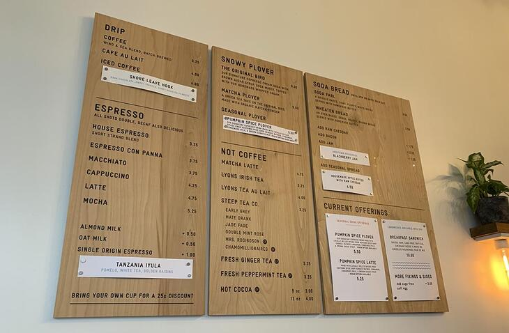 menu and pricing in a cafe