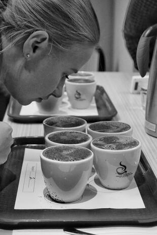 Q grader Anna Vänskä doing cupping